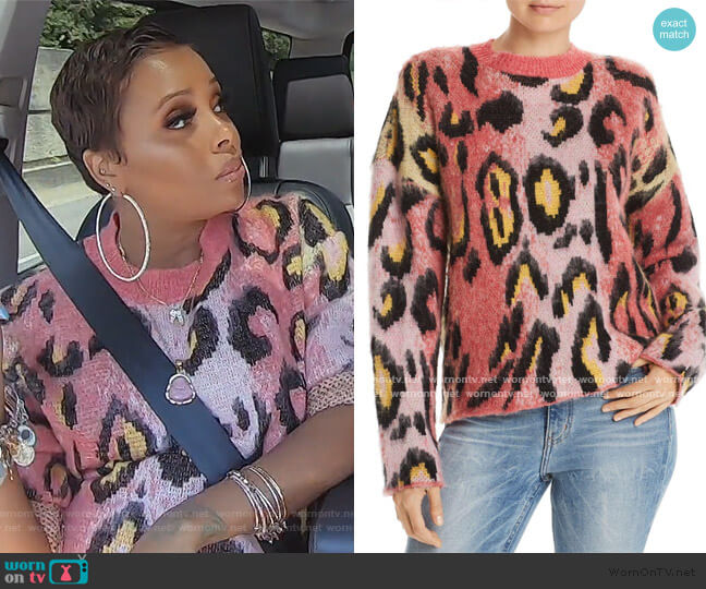 Brushed Leopard Print Sweater by Aqua worn by Eva Marcille  on The Real Housewives of Atlanta