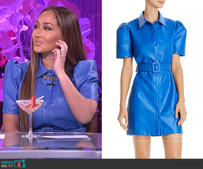 Faux-Leather Mini Dress by AQUA worn by Adrienne Houghton  on The Real