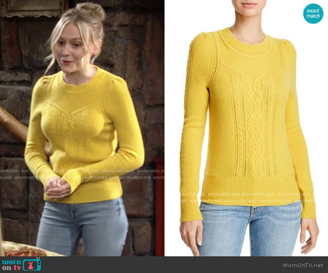 Aqua Mixed Knit Cashmere Sweater in Marigold worn by Faith Newman (Alyvia Alyn Lind) on The Young & the Restless