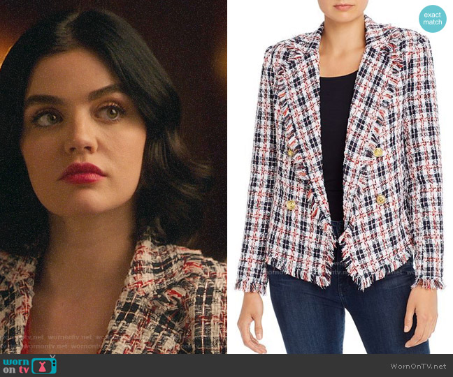 Aqua Plaid Tweed Open-Front Blazer worn by Katy Keene (Lucy Hale) on Katy Keene
