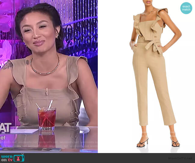 Ruffle-Sleeve Jumpsuit by Aqua worn by Jeannie Mai  on The Real