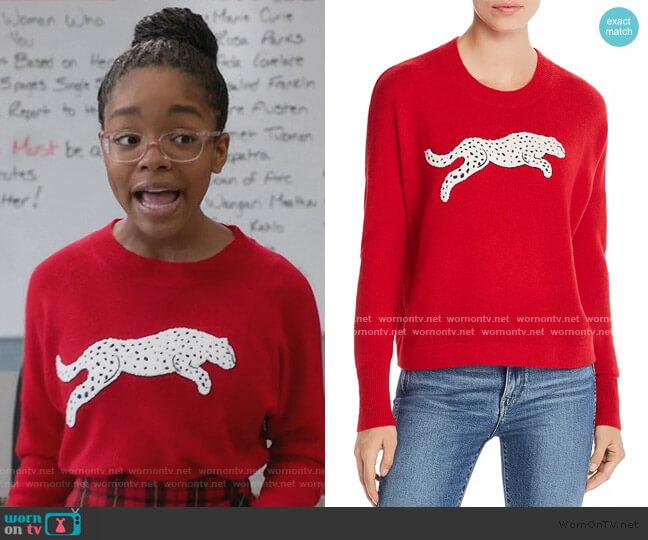 Snow Leopard-Appliqué Cashmere Sweater by Aqua Cashmere worn by Diane Johnson (Marsai Martin) on Blackish