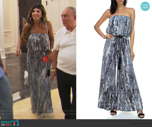 Strapless Jumpsuit with Rope Belt by Ariella USA worn by Teresa Giudice  on The Real Housewives of New Jersey