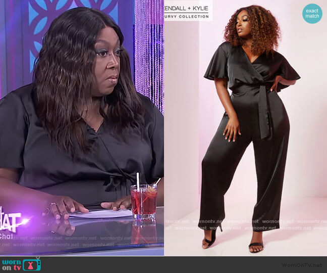 Satin Jumpsuit by Kendall + Kylie at Ashley Stewart worn by Loni Love  on The Real