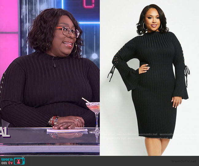 Lace-up Sleeve Sweater Dress by Ashley Stewart worn by Loni Love  on The Real