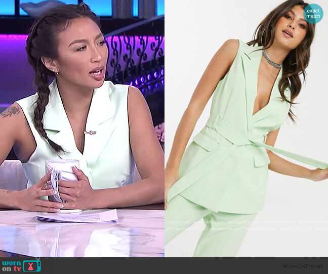 Sleeveless Longline Blazer by 4th and Reckless at ASOS worn by Jeannie Mai  on The Real
