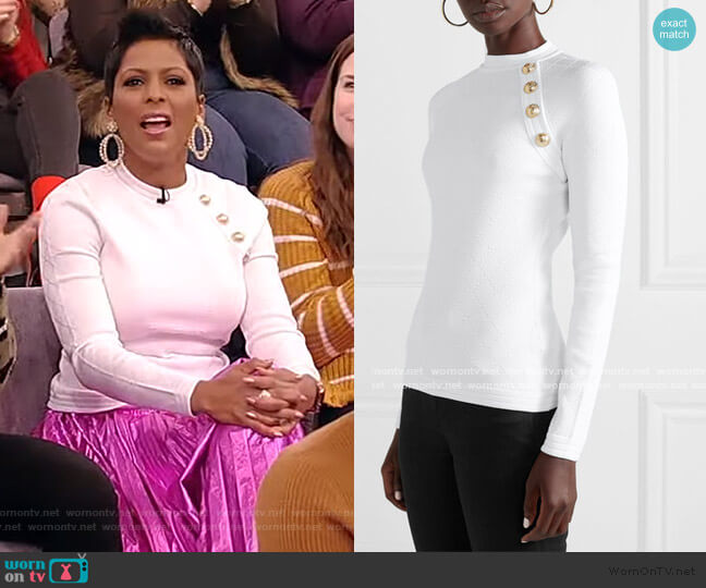 Button-embellished jacquard-knit sweater by Balmain worn by Tamron Hall  on Tamron Hall Show