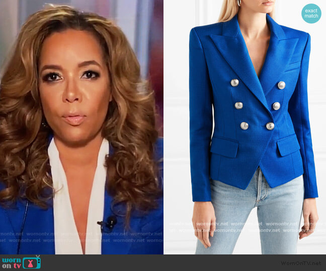 Double-breasted woven blazer by Balmain worn by Sunny Hostin  on The View
