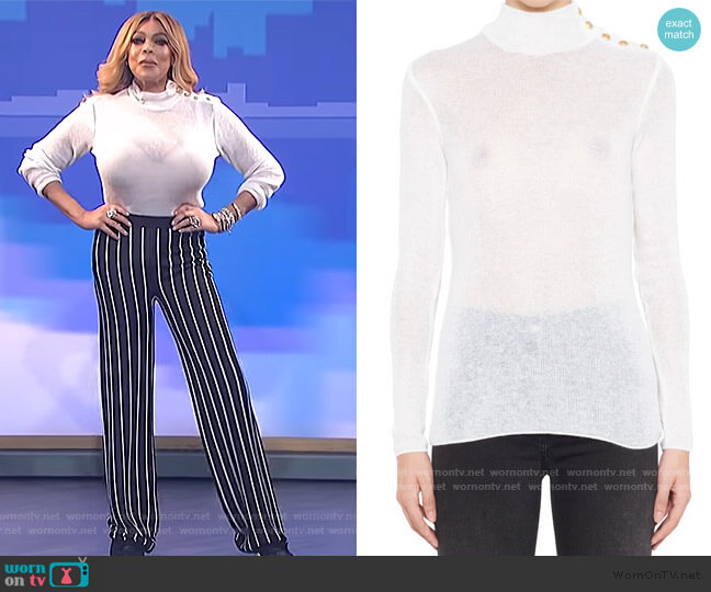 Shoulder Buttoned Turtleneck Jumper by Balmain worn by Wendy Williams  on The Wendy Williams Show