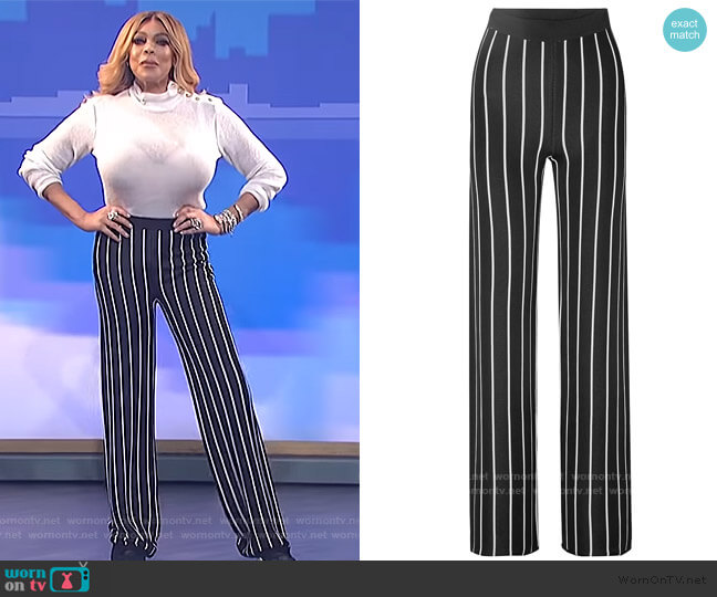 Striped stretch-knit wide-leg pants by Balmain worn by Wendy Williams  on The Wendy Williams Show