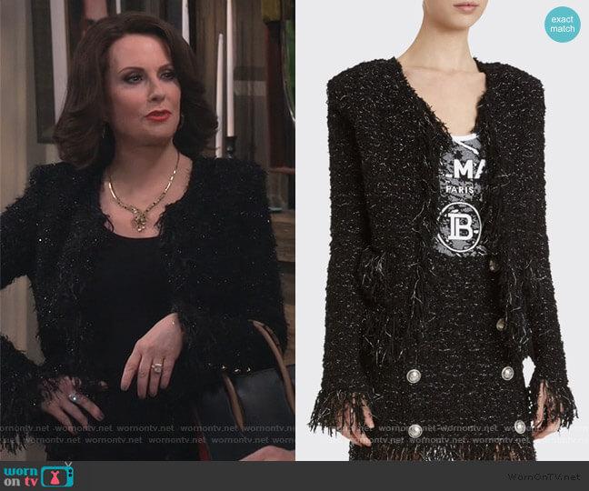 Tweed Fringe-Hem Blazer by Balmain worn by Karen Walker (Megan Mullally) on Will & Grace