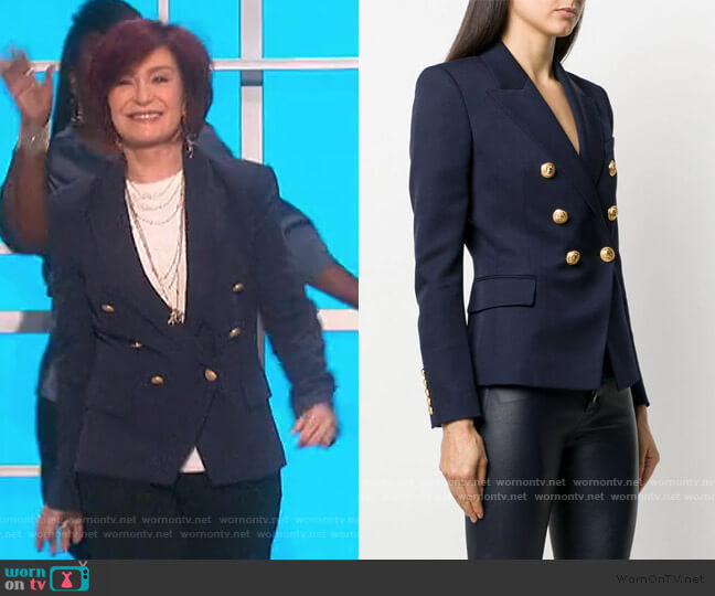 Double Breasted Fitted Blazer by Balmain worn by Sharon Osbourne  on The Talk