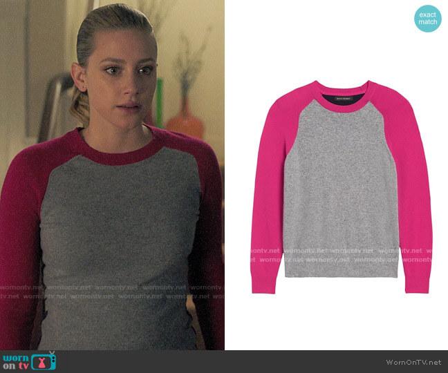 Banana Republic Italian Merino-Blend Raglan Sweater in Heather Grey / Hot Pink / Navy worn by Betty Cooper (Lili Reinhart) on Riverdale