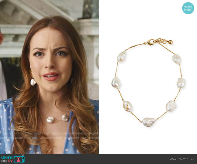 Baroque 7-Pearl Necklace by Lulu Frost worn by Fallon Carrington (Elizabeth Gillies) on Dynasty