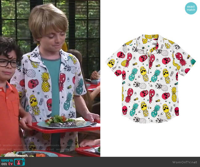 Pineapple Skull Poplin Shirt by Epic Threads worn by Finn Sawyer (Will Buie Jr) on Bunkd