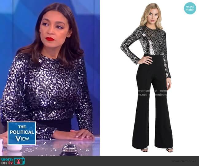 Lazaro Sequin Jumpsuit by Black Halo worn by Alexandria Ocasio-Cortez on The View