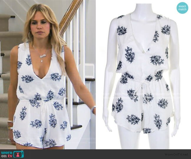 Floral Embroidered Romper by Blue Life worn by Jackie Goldschneider  on The Real Housewives of New Jersey