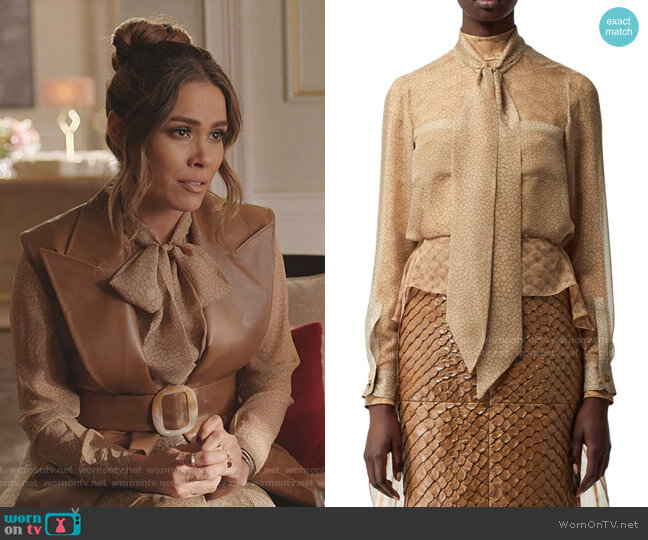 Printed Chiffon Tieneck Silk Blouse by Burberry worn by Cristal Jennings (Daniella Alonso) on Dynasty