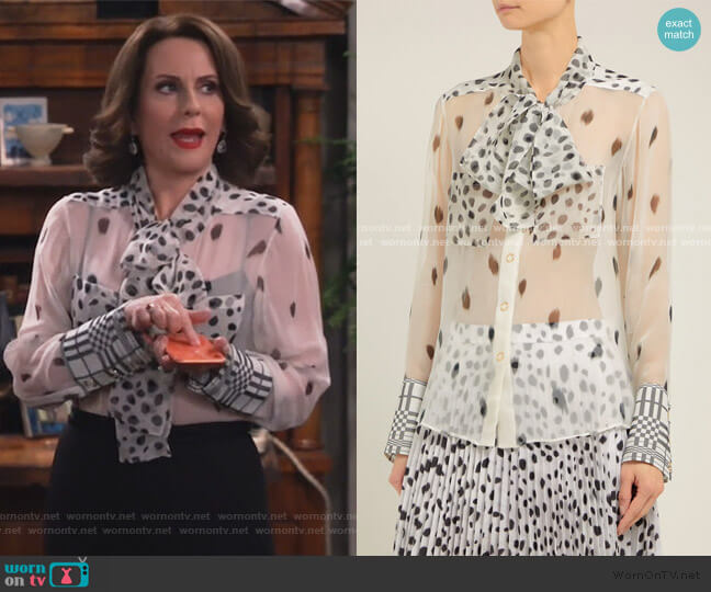 Pussy-bow Dalmatian-print Silk Blouse by Burberry worn by Karen Walker (Megan Mullally) on Will & Grace