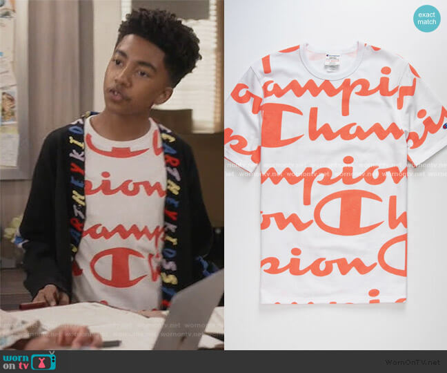 All Over Champion Script T-Shirt by Champion worn by Jack Johnson (Miles Brown) on Blackish