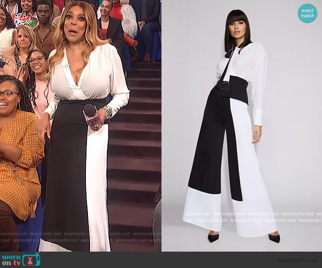 Corset Wrap Blouse by Colorblock Leg Pants by Gabrielle Union worn by Wendy Williams  on The Wendy Williams Show