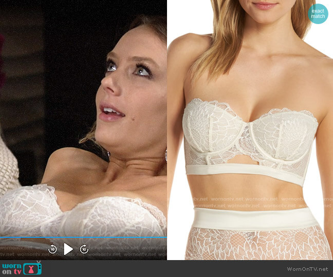 Calvin Klein Black Fan Strapless Underwire Demi Bra worn by Abby Newman (Melissa Ordway) on The Young & the Restless