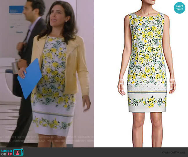 Floral Print Sheath Dress by Calvin Klein worn by Shannon Ross (Nicole Power) on Kims Convenience