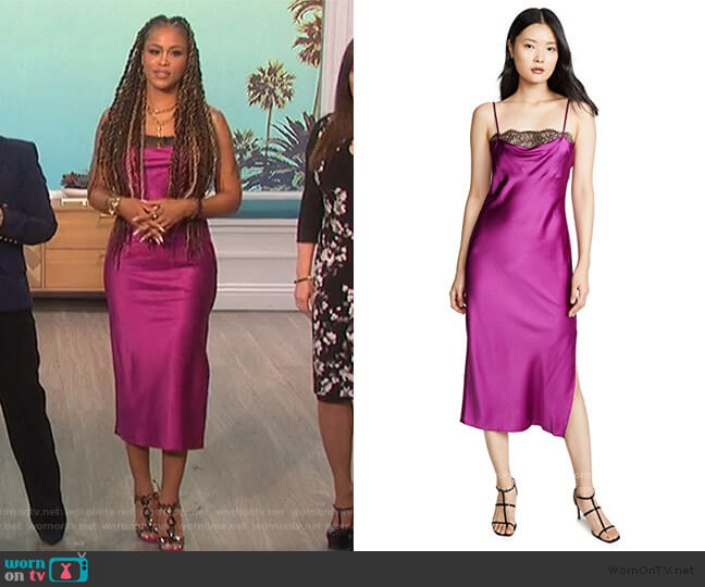 The Romy Midi Dress by Cami NYC worn by Eve  on The Talk