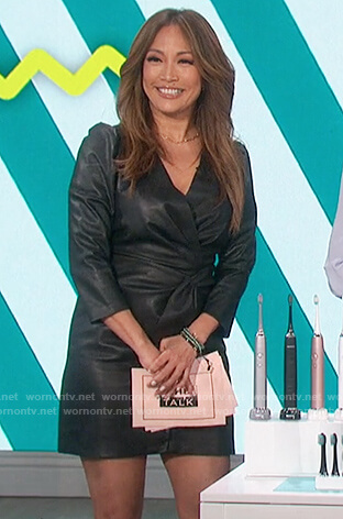 Carrie's black leather surplice dress  on The Talk