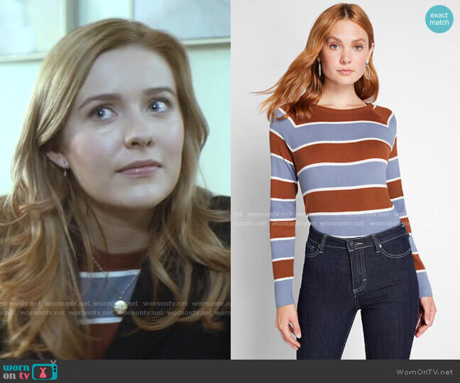 Casual Crush Ribbed Pullover Sweater by ModCloth worn by Nancy Drew (Kennedy McMann) on Nancy Drew