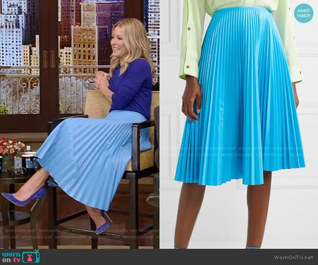 Pleated Faux Leather Skirt by Cedric Charlier worn by Kelly Ripa  on Live with Kelly & Ryan