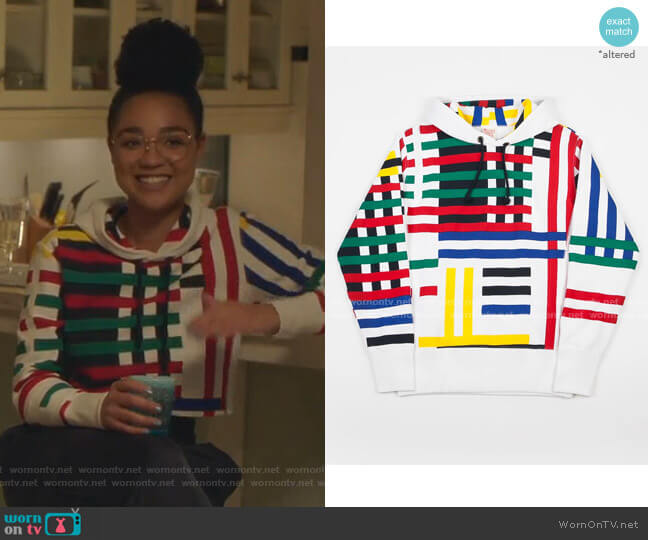 Multi Stripe Hoodie by Champion worn by Kat Edison (Aisha Dee) on The Bold Type