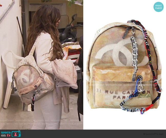 Graffiti Limited Edition 2014 ART Runway backpack by Chanel worn by Teresa Giudice  on The Real Housewives of New Jersey