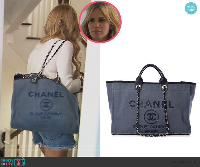 Sequin Embellished Denim Tote by Chanel worn by Jackie Goldschneider  on The Real Housewives of New Jersey