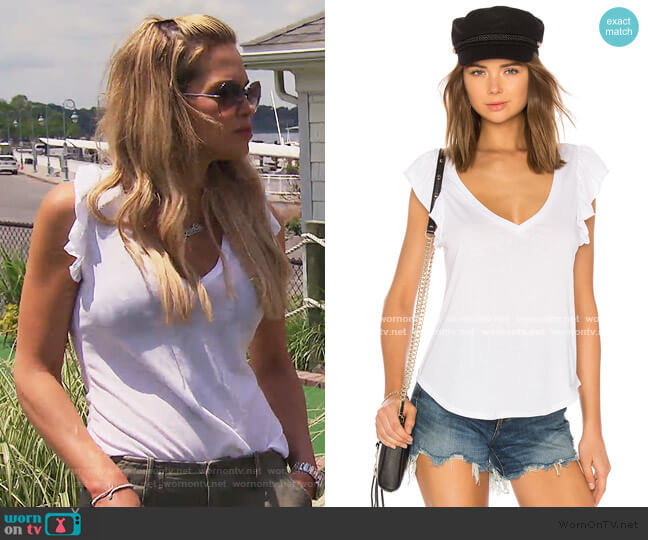 Flutter Sleeve V Neck Tee by Chaser worn by Jackie Goldschneider  on The Real Housewives of New Jersey