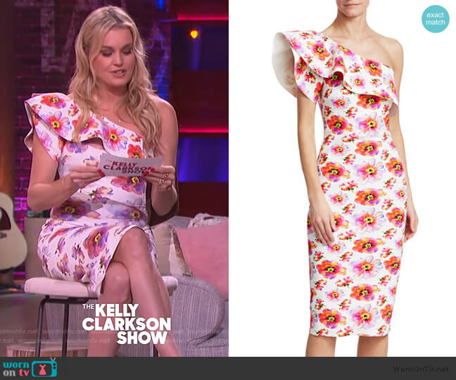 Elisse Print Ruffle Cocktail Dress by Chiara Boni La Petite worn by Rebecca Romijin on The Kelly Clarkson Show