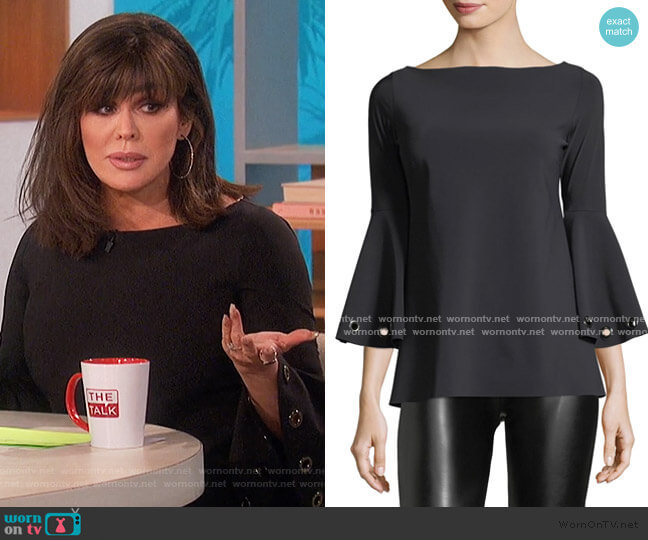 Nelia Bateau-Neck Bell-Sleeve Top by Chiara Boni La Petite Robe worn by Marie Osmond  on The Talk