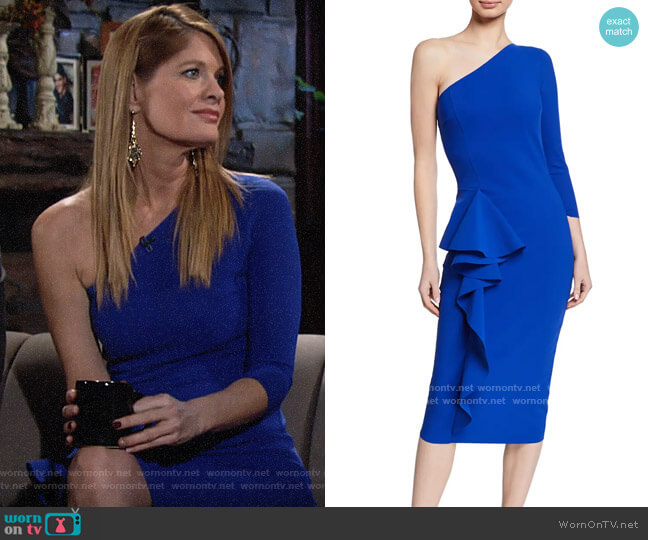 Chiara Boni La Petite Robe One-Shoulder Asymmetric-Ruffle Cocktail Dress worn by Phyllis Summers (Michelle Stafford) on The Young & the Restless