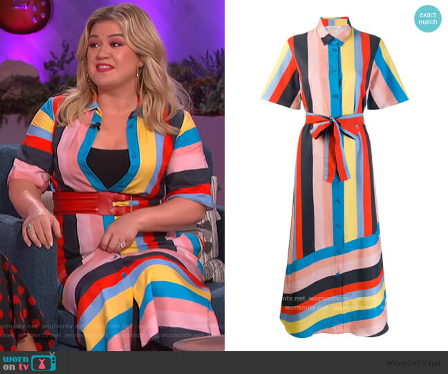 Striped Shirt Dress by Chinti & Parker worn by Kelly Clarkson  on The Kelly Clarkson Show