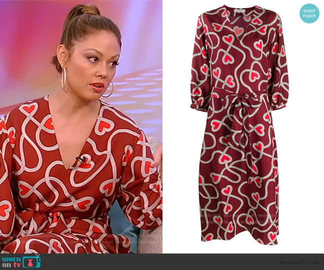 Heart-print Silk Belted Dress by Chinti & Parker worn by Vanessa Lachey on Tamron Hall Show