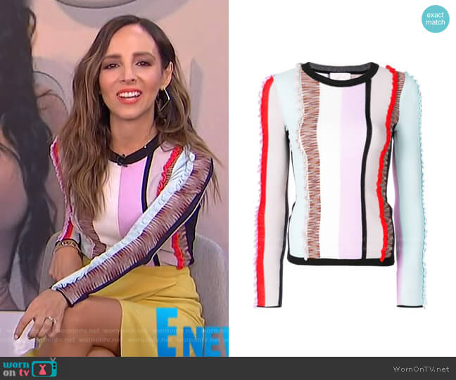 Frill Stripe Panel Sweater by Cinq a Sept worn by Lilliana Vazquez  on E! News