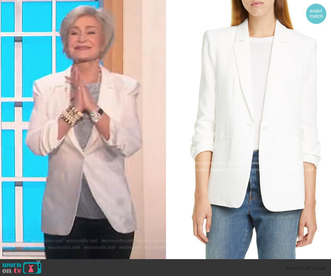 Khloe Ruched Sleeve Blazer by Cinq a Sept worn by Sharon Osbourne  on The Talk