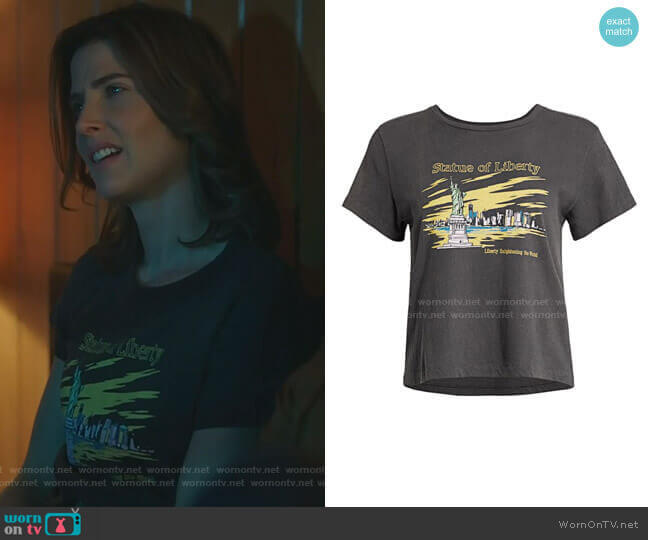 Classic Statue Of Liberty T-Shirt by Re/Done worn by Dex Parios (Cobie Smulders) on Stumptown