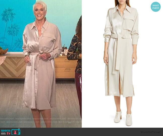 Split Front Long Sleeve Shirtdress by Co worn by Bridgette Neilson on The Talk