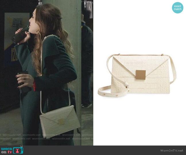 Copenhagen Leather Crossbody Bag by Demellier worn by Fallon Carrington (Elizabeth Gillies) on Dynasty