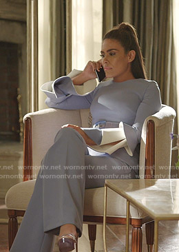 Cristal's light blue ruffled sleeve top and pants on Dynasty