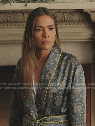 Cristal's green paisley print robe on Dynasty