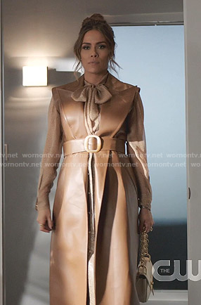 Cristal's tie neck blouse and leather long vest on Dynasty