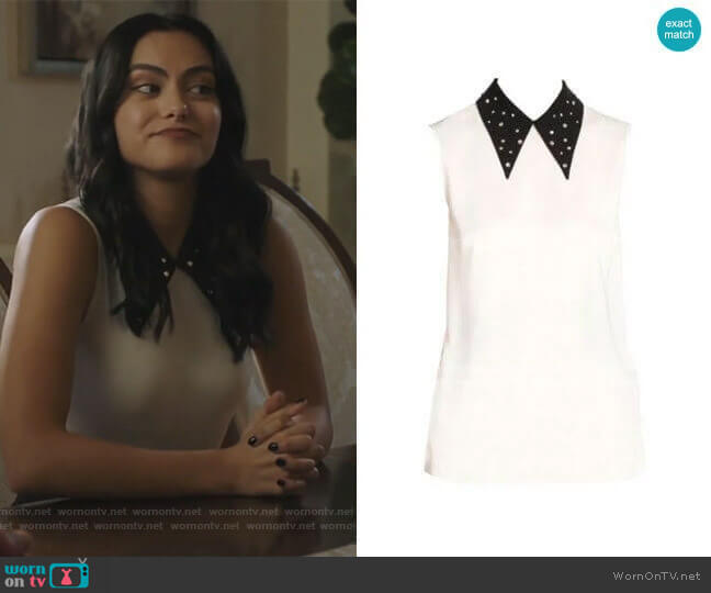 Miu Miu Crystal Embellished Point Collar Blouse worn by Veronica Lodge (Camila Mendes) on Riverdale