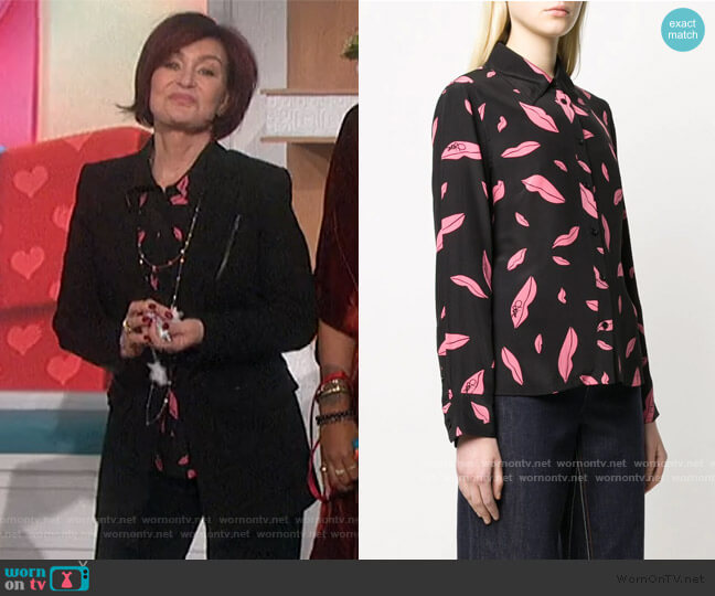 Samson Falling Lips Shirt by Diane Von Furstenberg worn by Sharon Osbourne  on The Talk